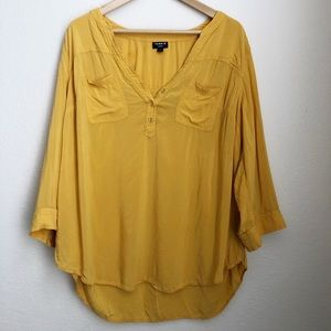 Torrid Harper Yellow 3/4 Sleeve Blouse